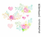 set of watercolor floral... | Shutterstock .eps vector #249964828
