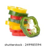 Sliced Red Yellow Green Pepper...
