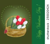 valentines day card with tulips ... | Shutterstock .eps vector #250020424