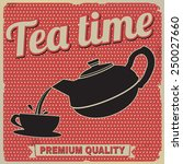 Tea Time Retro Poster On Red I...