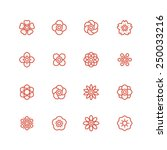 flower line icon set  vector   Shutterstock .eps vector #250033216