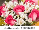 Stock photo alstroemerias and garden roses in fresh bouquet 250037320
