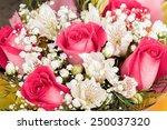 Stock photo alstroemerias and garden roses in fresh bouquet 250037320