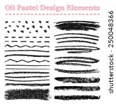 Set of oil pastel brush strokes and design elements. Grunge vector illustration.