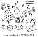 vector doodles with finance... | Shutterstock .eps vector #250084624
