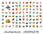 vector color food icons on white background | Shutterstock vector #250096378