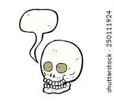 cartoon skull with speech bubble | Shutterstock . vector #250111924