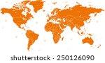 detailed vector world map of... | Shutterstock .eps vector #250126090