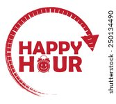 Red Happy Hour Icon  Label ...