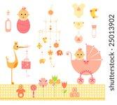 elegant set of newborn elements. | Shutterstock .eps vector #25013902