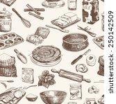 vector seamless patten. vintage ... | Shutterstock .eps vector #250142509