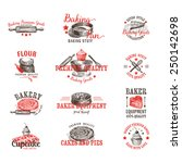 vector set of bakery logos ... | Shutterstock .eps vector #250142698