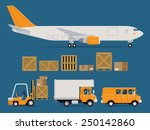 set of vector freight cargo... | Shutterstock .eps vector #250142860