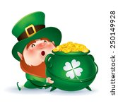 leprechaun holding a pot of... | Shutterstock .eps vector #250149928