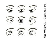 Set Of Eyes Positions. Front...