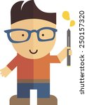 vector boy with pen and glasses ... | Shutterstock .eps vector #250157320