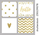 cute cards with gold confetti... | Shutterstock .eps vector #250159078