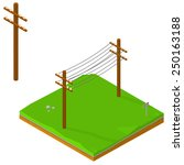 Isometric Icons Of Power Lines...