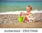 little blond girl playing on... | Shutterstock . vector #250173466