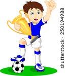 cute boy soccer player holding...   Shutterstock .eps vector #250194988