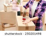 packing boxes close up | Shutterstock . vector #250201498