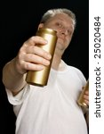 man with beer can over black... | Shutterstock . vector #25020484
