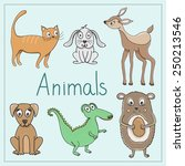 vector set with cute animals | Shutterstock .eps vector #250213546