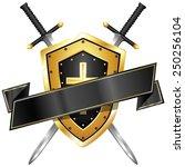 blank sword   shield banner | Shutterstock .eps vector #250256104