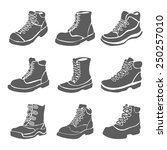 set of nine different boots... | Shutterstock .eps vector #250257010