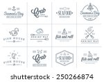 set of vector sea food elements ... | Shutterstock .eps vector #250266874