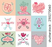 valentine s day wedding love... | Shutterstock .eps vector #250273060
