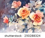 Watercolor Roses Flowers Flora...