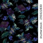 Seamless Dark Watercolor Flora...