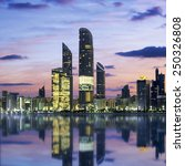 Small photo of Abu Dhabi Skyline at sunset, United Arab Emirates