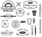 set of vintage bakery logos ... | Shutterstock .eps vector #250328644