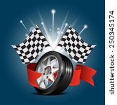 wheel with red ribbon and race... | Shutterstock .eps vector #250345174