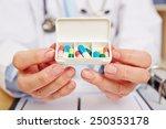 doctor showing pill dispenser... | Shutterstock . vector #250353178