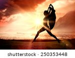 gorgeous fit blonde leaping... | Shutterstock . vector #250353448