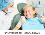 cute smiling girl in at dentist ... | Shutterstock . vector #250353628