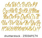 3d gold alphabet letters and... | Shutterstock . vector #250369174