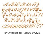 3d gold alphabet letters and... | Shutterstock . vector #250369228