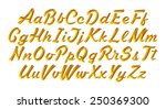 3d gold alphabet letters and... | Shutterstock . vector #250369300