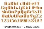 3d golden alphabets with digit... | Shutterstock . vector #250372828