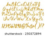 3d golden alphabets with digit... | Shutterstock . vector #250372894