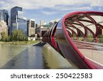 peace bridge over bow river in... | Shutterstock . vector #250422583