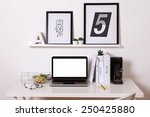 black and white office at home. ... | Shutterstock . vector #250425880