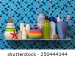 bath accessories on blue... | Shutterstock . vector #250444144