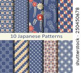 set of ten japanese patterns | Shutterstock .eps vector #250450678