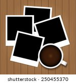 cup of coffee and photo frame... | Shutterstock .eps vector #250455370