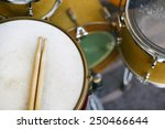 drums set with sticks on snare... | Shutterstock . vector #250466644